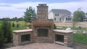 rear of patio fireplace